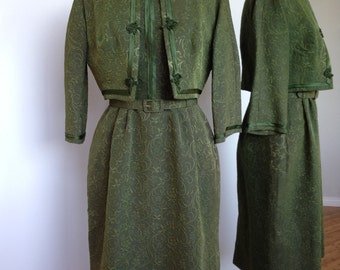 Gorgeous Rich Green Vintage 50s Mad Men Pin Up Rockabilly Style Dress With Matching Jacket