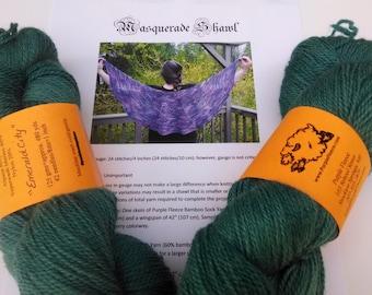 Masquerade Shawl Kit (large) featuring Purple Fleece Alpaca Blend Sock Yarn
