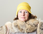 Cloche Hat Women Classic Felt Hat Yellow Citrine  Millinery, Made to Measure Millinery
