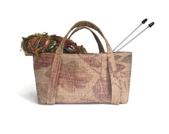 Knitting Bag Beige Upholstery Fabric Tote Paisley