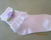 Girls lacy socks with crochet flowers - Easter socks - Dressy socks for girls
