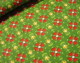 Vintage 70s Mod Little Floral Fabric -Red Daisy Yellow Tulip Flowers on Olive Green Remnants -Small Print