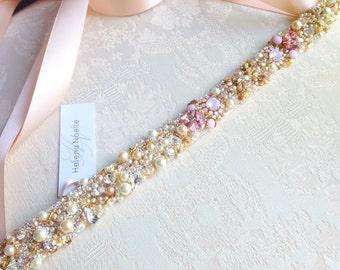 Ombre Blush Crystal Bridal Belt- Custom- Swarovski Crystal Bridal Sash- One-of-a-Kind Hand-Beaded -Vintage Glamour