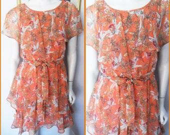 Vtg.70s Orange Sorbet Floral Print Chiffon Layered Mini Dress.S.Bust 34.Waist 27-32.