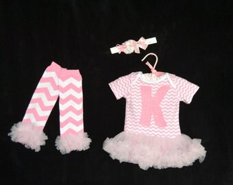 Baby girl personalized Pink Chevron Bodysuit with a pink chiffon skirt -matching headband - matching baby legs with ruffles FREE SHIPPING