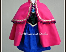 Princess Dress and Cape / Anna Dress and Cape/ Anna Costume /  Handmade- Sizes from 18 months to 8