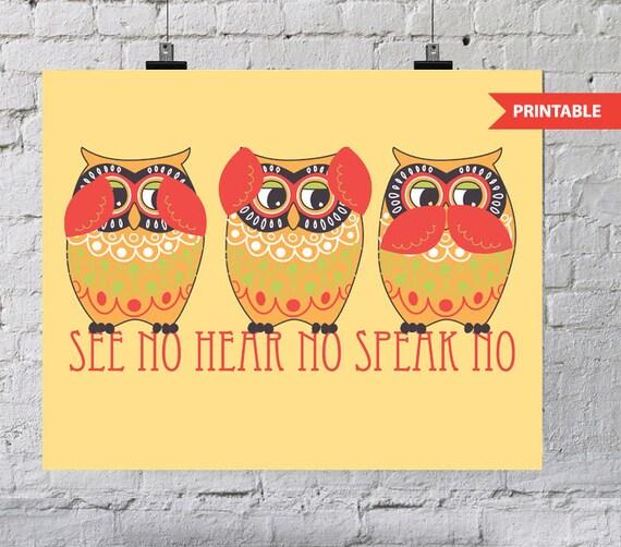 Items Similar To Printable Owl Trio Hear No Speak No See