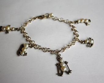 Vintage Belcher Chain Charm Bracelet with 5 Sterling Silver Snowman Charms