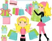 Shopping Spree Blonde Cute Digital Clipart, Commercial Use OK, Woman Shopping Clipart, Shopping Graphics
