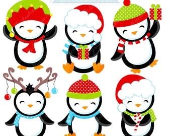 Boy Jolly Penguins Cute Digital Clipart - Commercial Use OK - Christmas Graphics - Christmas Clipart - Christmas Penguins
