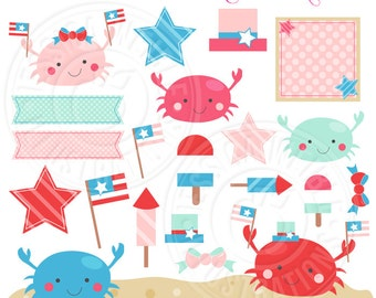 Patriotic Crab Cute Digital Clipart - Commercial Use OK - 4th of July Clipart, Beach Clipart, Summer Patriotic Graphics