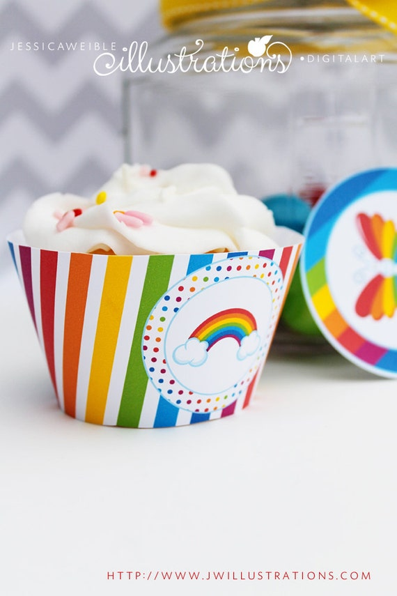Rainbow Pretty Theme - Printable Cupcake Wrappers- Rainbow Cupcake Wrapper- Printable Party Favors - Rainbow Party Printables