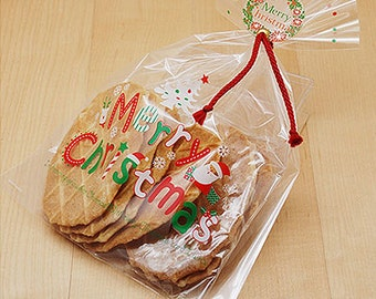 10 Merry Christmas Transparent Cellophane Bags (7.5 x 10.2in)