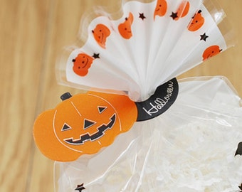 10 Clear Ties - Halloween Pumpkin (2.6 x 1.2in)