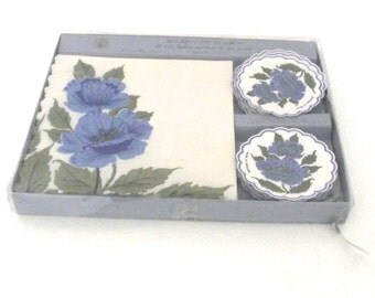 Sale 50% Off, Vintage Imported Set of Freund Mayer Paper Napkins and Coasters or Drip Mats