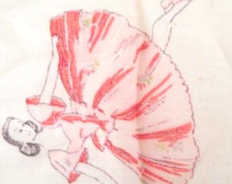 Vintage Ladies Illustrated Handkerchief with Ballet Dancers Design
