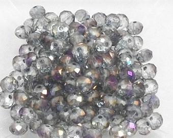 4x6mm Halftone Purple Faceted Crystal Rondelle Beads