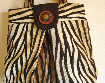 unique fabric handbag, zebra print