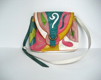 Vintage Bright Leather Patchwork Genuine Sharif Purse // Made in USA // 1980s