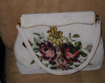 Vintage White Beaded Floral Petit-Point Evening Purse Handbag