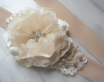 Pale Champagne Velvet Bridal Sash with Lace, Ivory Sash with Crystals and Pearls, Bridal Belt, Wedding Belt - DAYDREAM