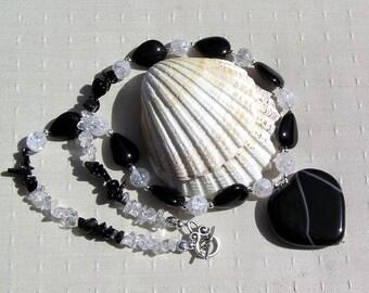 "Black Onyx Heart & Clear Quartz Gemstone Statement Necklace ""Brave Heart"", Black Necklace, Heart Necklace, Chakra Necklace, white necklace"
