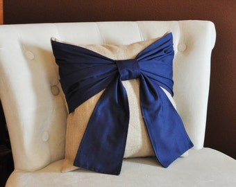 Throw Pillow Navy Blue Bow on Burlap Pillow 14x14 -Rustic Home Decor