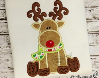 Reindeer Applique Embroidery Design with fill sitch antlers
