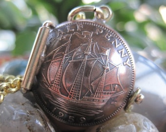England British UK Half Penny Pirate Ship Galleon Bronze Coin Locket Pendant Made to Order.