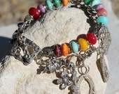 RESERVED FOR GT-Handmade Multi Gemstone Artisan Sterling Silver Charm Bracelet