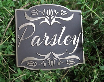Brass Garden Markers Labels MADE TO ORDER any Garden Art Herbs Plant