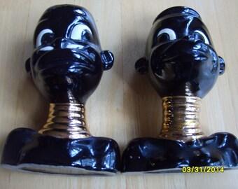Mid Century Black Ceramic, Retro Black African Ceramic, Vintage Ceramic Planter, Black Dolls