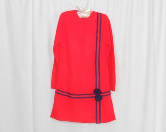 Girls Vintage Dress Girls Dresses 60s Dress Mod Dress Red Sweater Dress Pom Pom Dress
