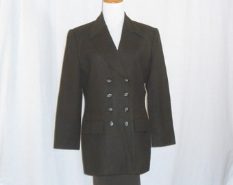 Womens Blazer Brown Wool Blazer 80s Blazer Double Breasted Blazer Womens Coats Vintage Blazer Womens Vintage Clothing
