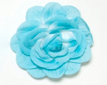 Large Turquoise Satin flower Roses 6pc, Multi Purpose, Hair,clothes,home decor