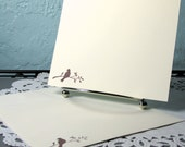 Flat Stationery Handmade Writing Set with Flat Hand Stamped Note Cards With Bird on a Branch Choice of Color