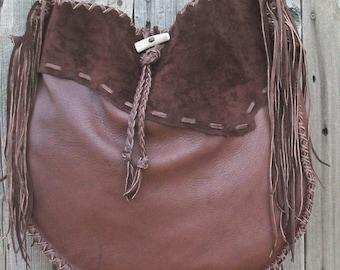 Leather drum bag ,  Large brown leather tote ,  Fringed designer handbag