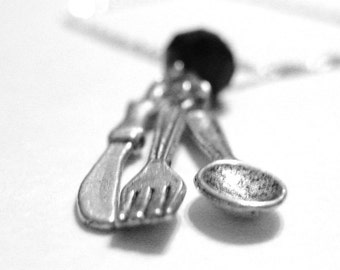 Sterling Silver Spoon Jewelry - Knife Fork Spoon Necklace - Cooking Jewelry - Tiny Silver Fork Necklace - Utensil Gift