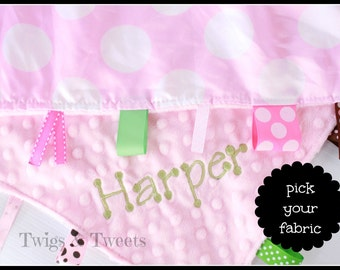 Personalized Ribbon Blanket- Dum dots on Light Pink-Pink Minky- Ribby Learning Lovey-
