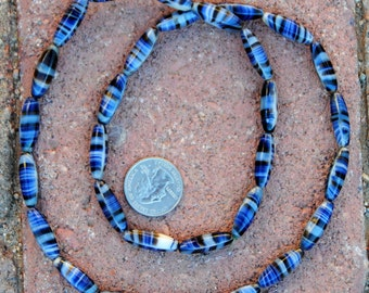 Vintage Glass Tiger Beads: Blue/Black