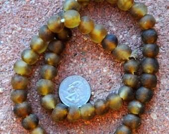 Ghana Glass Beads: Gold/Brown (12x12mm)