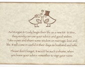 Wedding Wish Tree Tags / Advice Cards Instruction Sign - Love Birds Kissing Vintage Style / Personalized