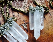 Clear Quartz Crystal Necklace/ Raw Quartz/ Crushed Pyrite/ Natural Gem Stone/ Geode Pendant/ Layered Necklace/ Boho Chic/ Delicate Necklace