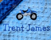 Personalized minky baby blanket- sky blue and cobalt blue dirt bike - lovey blanket