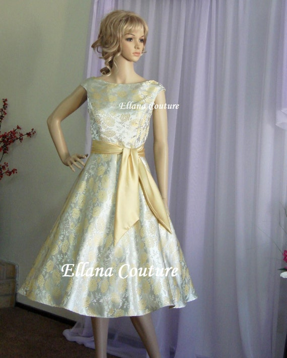 Plus size fiona vintage inspired tea length by ellanacouture for Plus size vintage style wedding dresses