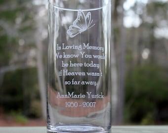 Personalized Memorial Glass Vase, Engraved memorial vase, Butterfly memorial vase, wedding vase, keepsake memorial vase,