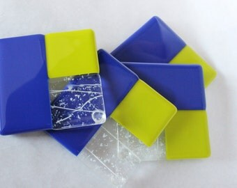 SUMMER DRINK COASTERS - Cobalt Blue, Lime Green and White Drink Coasters, Under 25, Set of 4 Coasters, Fused Glass Coasters, Drink Holder,