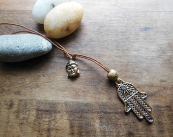 Lovely Golden Buddha Hamsa Hand of Fatima Protection  Necklace Beaded