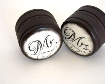 Mr & Mrs - Set  0f  2 - Wedding Ring Box - Customize
