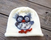 SALE / Owl Children Beanie / Baby Toddler Hat / Fall Winter Beanie / Woodland / White